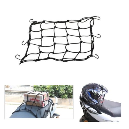 40x40cm New Motorbike Motorcycle Helmet Bungee Luggage Cargo 6 Hooks Net Hold Down 3 color Available