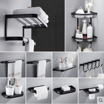 Bathroom Accessories Set, Black Oil Brushed Square Toilet Brush Holder,Paper Holder,Towel Bar,Towel Holder Bathroom Hardware Set