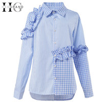 HEE GRAND 2017 New Spring Women Stripped Shirts V Neck Patchwork Stripped Plaid Blouses With Ruffles