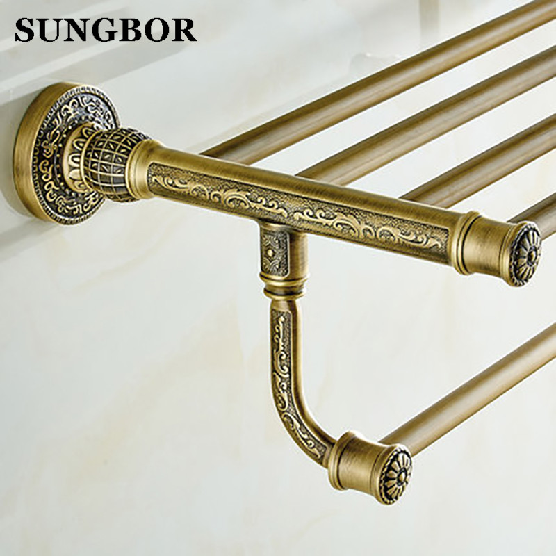Whole brass towel shelf Antique brass bath towel rack Active bath towel rack bathroom cloth holder Antique Double towel shelf antique fixed bath towel holder brass towel rack holder for hotel or home bathroom storage rack black oil brushed towel shelf