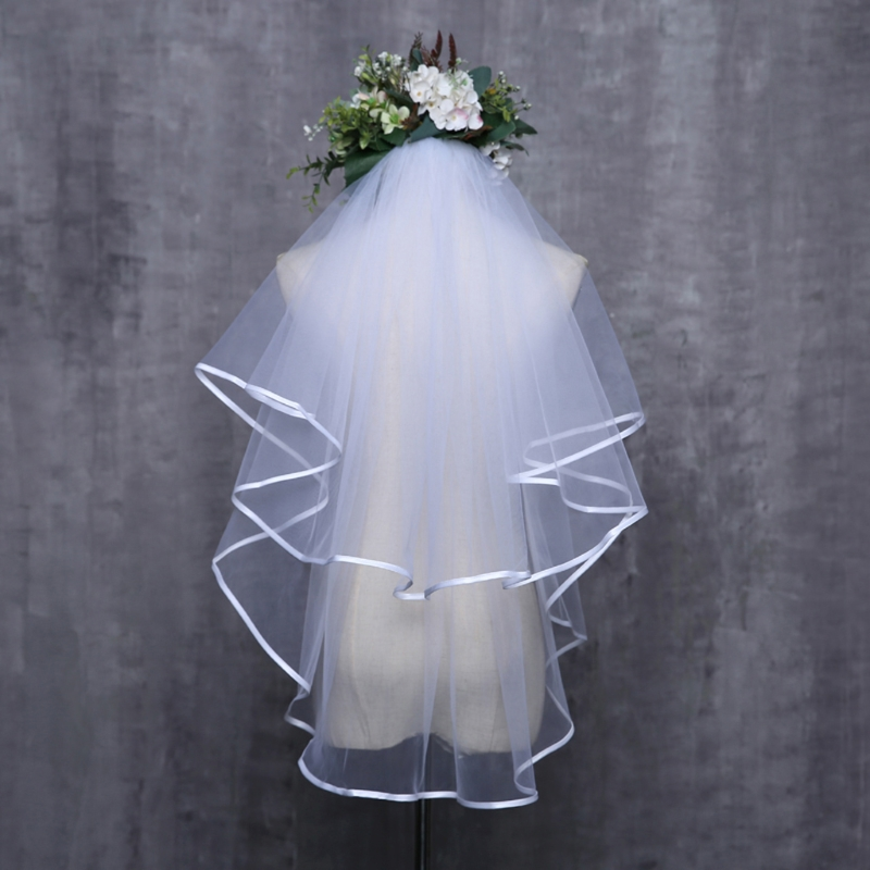 Women Wedding Dress Veil Two Layers Tulle Ribbon Edge Bridal Veils Accessories