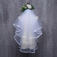 Женское свадебное платье, вуаль, два слоя, тюль, лента, край, свадебные аксессуары для вуалей
