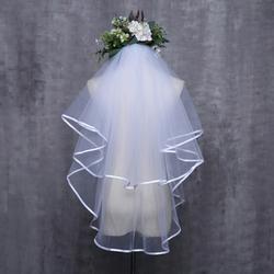 Женское свадебное платье вуаль двухслойная Тюль с лентой по краю Свадебные вуали аксессуары