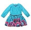 Catimini девушки Французский стиль одежды 2016 новый дизайнер Весной и Осенью дети милые цветочные платья девушки марка платье
