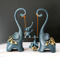 Resin Abstract Elephant Family Statue Swing Elephant Sculpture Adornment Home Decor Birthday Souvenir Craft Gift for Parents