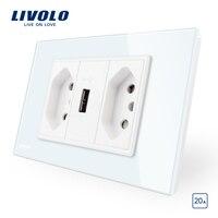 Livolo Brasilianische Standard 3Pins 10A 20A mit USB Buchse  Weiß/Schwarz Glas panel Ohne Stecker  3 pins standard  erdung drähte-in Steckdose-Zubehör aus Heimwerkerbedarf bei