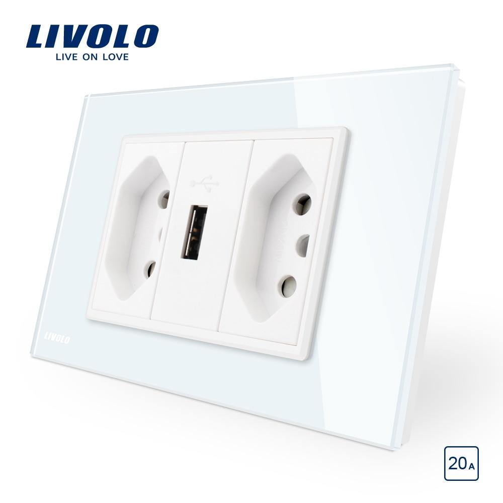Livolo Brazilian/Italian Standard 3Pins 20A +USB Socket, White Glass Panel Without Plug,  C9C2UBR2-11