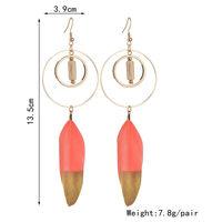 Terreau Kathy Bohemian Feather Long Earrings For Women Vintage Gold Color Round Wooden Earrings Fashion Jewelry Wholesale