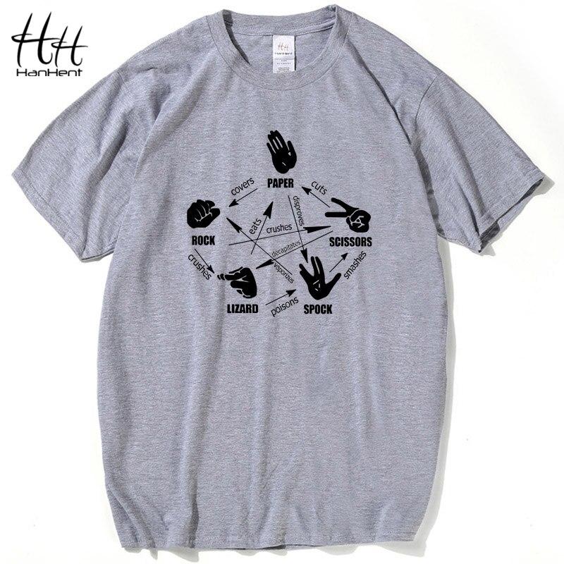 Hanhent Die Urknalltheorie Männer T Shirt Felsen Papier Schere Eidechse Spock Sheldon Cooper Tops Kurzarm Crossfit T-shirt