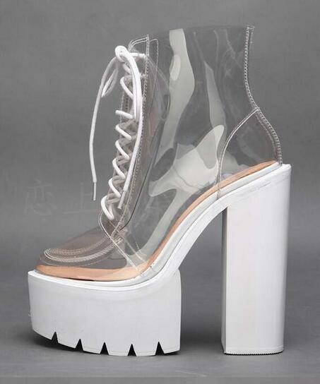 New Arrivals 2017 Summer Thick Heels Riding Boots Fashion Platform High Heel Boots Transparent PVC Lace-Up Ankle Women Boots asumer 2017 new high heels wedge boots lace up sexy cut out mesh platform boots women elegant thick sole summer ankle boots
