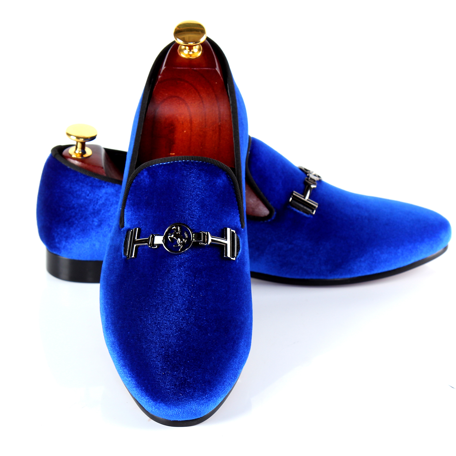 Harpelunde Buckle Strap Men Shoes Brand Blue Velvet Loafers Hot Sell Dress Shoes Size -6347