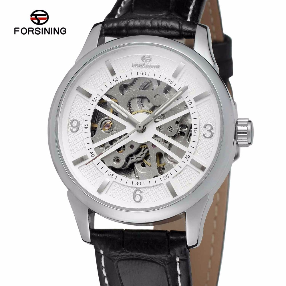 FORSINING Fashion Casual Men Auto Mechanical Watch Leather Strap Skeleton Dial Arabic Number Minimum Design Winner Wristwatch forsining men s watch vogue skeleton mechanical leather analog classic wristwatch color silver fsg8090m3