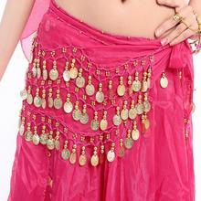 Women Sexy 3 Rows Belly Dance Hip Scarf Wrap Belt Dancer Skirt Costume Chiffon 13 Types for Choose