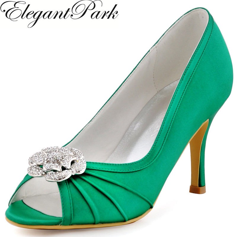 цена на Shoes Woman Green High Heel Pumps Rhinestone Clips Satin Women Prom Evening Party Wedding Bridal Shoes EP2094AF Women High Heels