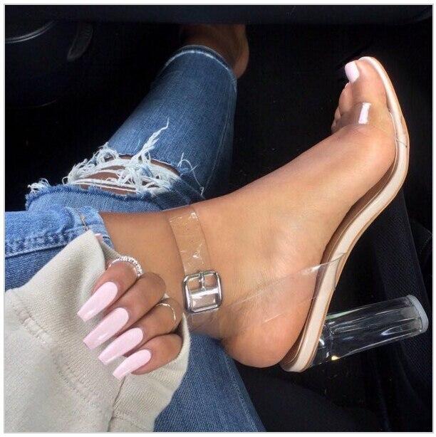 ФОТО Hot Selling PVC Clear Chunky High Heels Women 2016 Fashion Strappy Heels Transparent Gladiator Buckle High Heel Sandals Woman