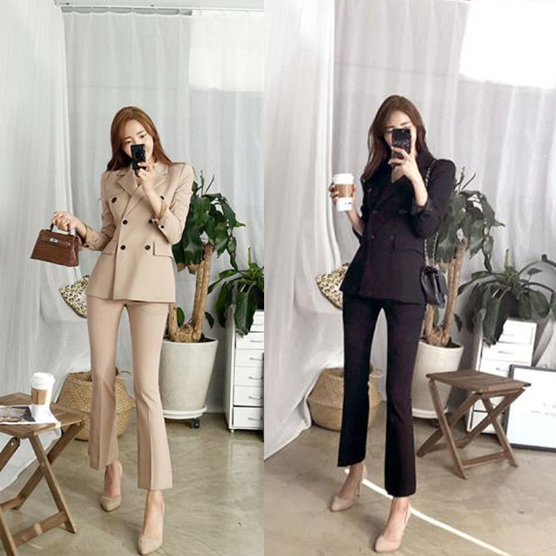 2 Piece Sets Womens Outfits Autumn Casual Fashion Solid Color Black Slim Loose Office Ladies Business Professional OL Suit