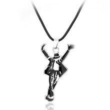 dongsheng Ornament Jewelry Necklaces Pop Star Singer Enamel Pendant Dancing  Michael Jackson Leather Cord Necklace souvenirs-30 72f0e378a15e
