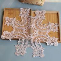 โกลเด้นหรูหราลูกปัดลูกไม้ผ้าปูโต๊ะที่ทำด้วยมือแผ่นDoilies A Lenconลูกไม้