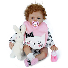 2018 Hot Sale Cheap Curly Hair Bebe Reborn Babies 22inch 55cm Silicone baby Reborn Vinyl Doll Toys for children Gift Juguetes 2017 new 22inch 55cm full vinyl babydoll with wig hair girl gender doll soft real touch toys and gift for childen