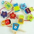 Brinquedos do bebê Animais de Partículas/Vestido de Contas de Madeira de Faia Bebê Early Learning Educação montessori Brinquedos De Madeira