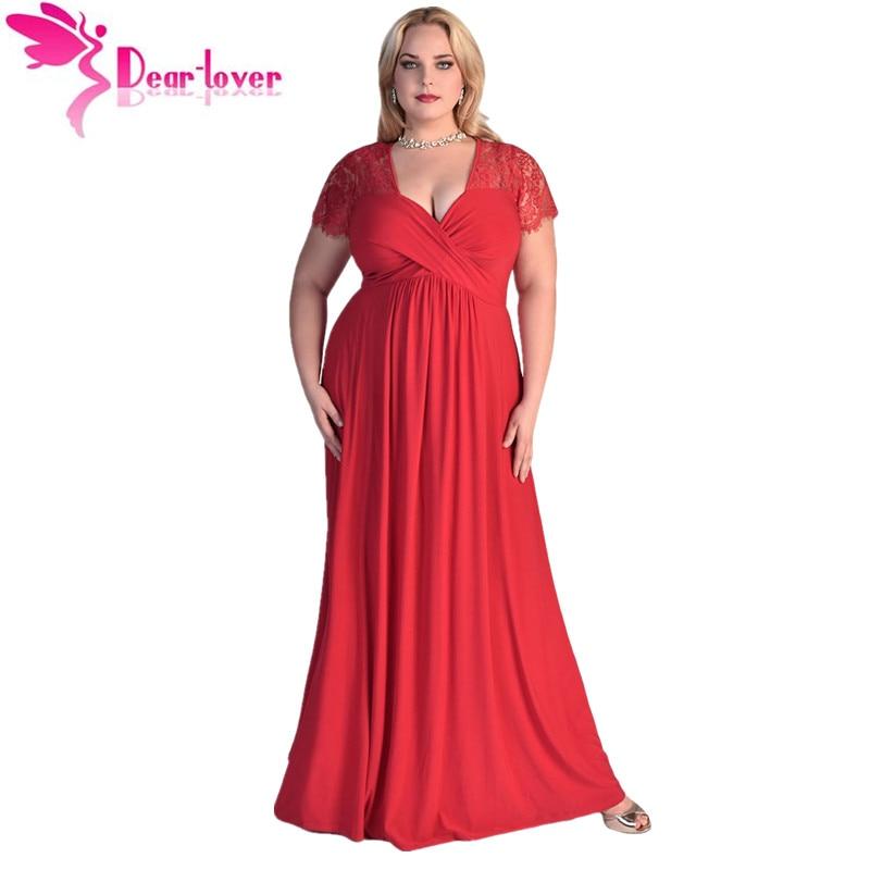701741961e Dear-lover Party Longo Vestidos Big Women Black Lace Yoke Ruched Twist High  Waist Plus Size Gown Dress with Short Sleeve LC61025