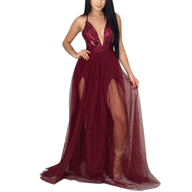 ea91531067 Glitter Sequins Maxi Dress Sexy Women Deep V Neck Ladies Party Gown Long  Dresses Patchwork Spaghetti Straps Across Backless Mesh