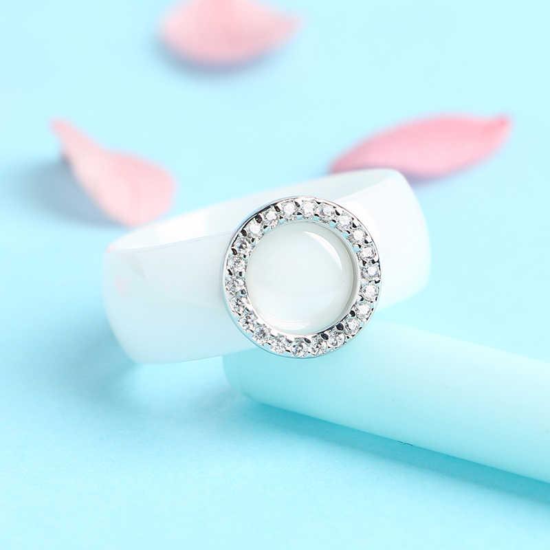 2019 Элегантные кольца с кристаллами 8 мм ширина здоровые керамические кольца с круглой формы женские подарок на помолвку или на свадьбу оптом