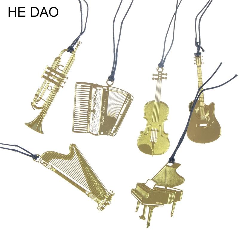 Cute Gold Metal Bookmark Fashion Music Piano Guitar Bookmark For Book Creative Gift Korean Stationery Supplies