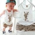Retail 1 set new children's brand set 100% cotton Summer wear leopard print letters vest + pants cute boys girls vest suits