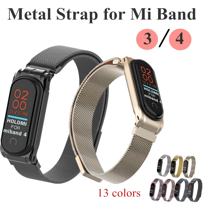 Mi Band 4 3 Metal Strap Magnet Buckle Bracelet Wrist Band NFC Straps Stainless Steel WristBand For Xiaomi MiBand 3 4