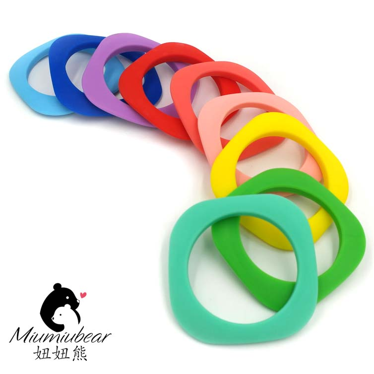 Silicone teether ring bracelet natural teething first toy shower gift for baby