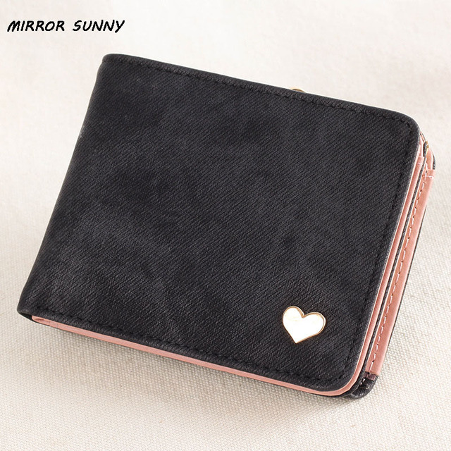 20f88d4f708b MIRROR SUNNY New Imitation Jeans Women Short Wallet Female Two Fold Purse  Solid Color Multi Card