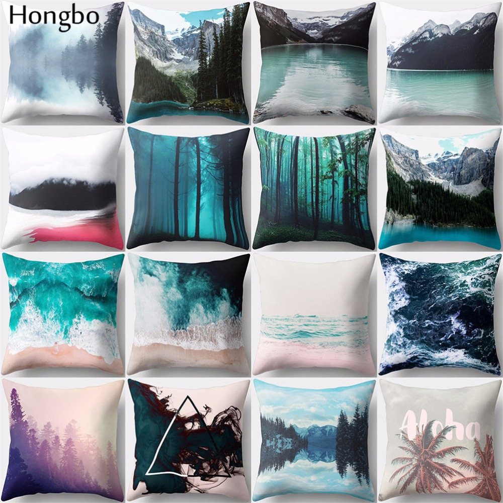 Hongbo 1 Pcs Color Oil Painting Mountain Forest Polyester Peach Skin Pillow Case Sofa Cushion Covers