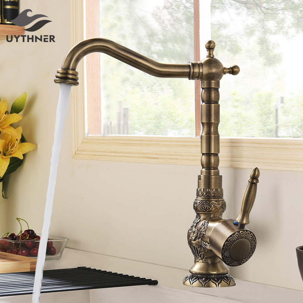 Uythner Kitchen Sink Faucets Retro Brass Antique Bronze Single Handle Kitchen Basin Faucets Deck Mounted Hot