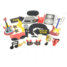 Set of 18  Rockstar Rock Party Photo Booth Props for Birthday Wedding Rocker Music Theme n Roll Decor