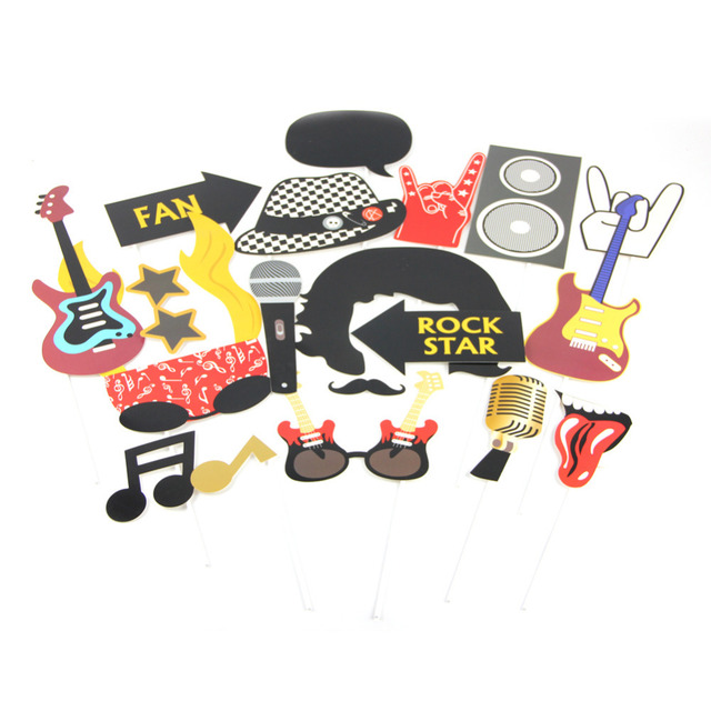 Set Of 18 Rockstar Rock Party Photo Booth Props For Birthday Party