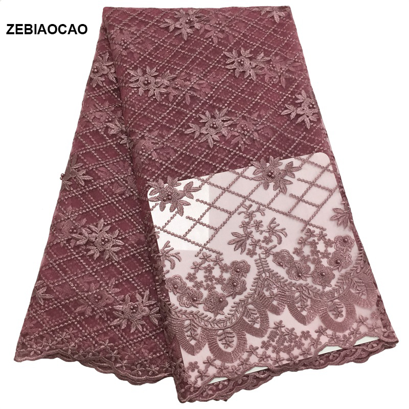ZEBIAOCAO 2019 New Design African Lace Fabric High Quality Lace Fabric With beads and rhinestone Bridal lace Fabric For Sewing in Lace from Home Garden