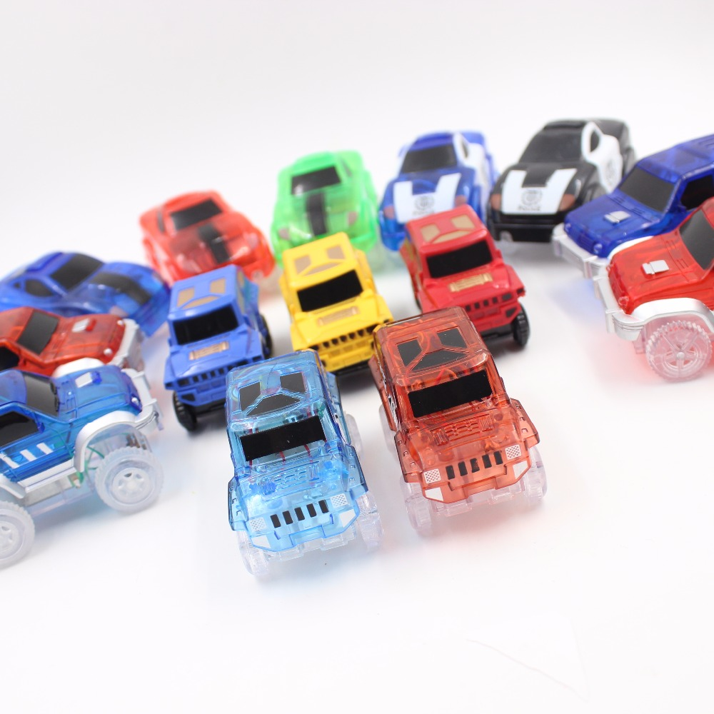 8 Styles Electronics Magic Track Cars Led Flashing for Glow in the dark Tracks Toys For Kids