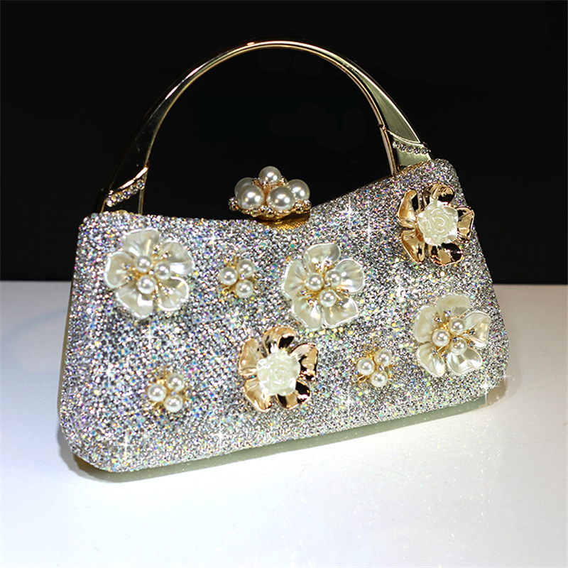 Luxury Totes Handbag Crystal Clutch Women Bridal Wedding Shoulder Bag Floral Genuine Leather Rhinestone Purse Evening