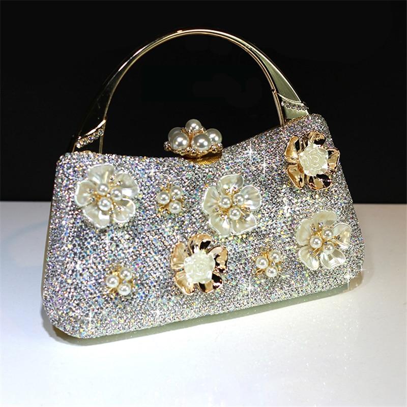 Totes กระเป๋าถือคริสตัลคลัทช์ผู้หญิงเจ้าสาวงานแต่งงานกระเป๋าสะพายดอกไม้ของแท้หนัง Rhinestone กระเป๋าสตางค์ Party party-ใน กระเป๋าหูหิ้วด้านบน จาก สัมภาระและกระเป๋า บน   1
