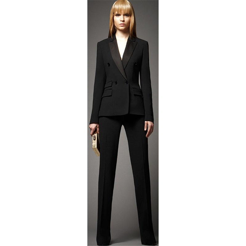 Jacket+Pants Women Business Suits Black Double Breasted Female Office Uniform Ladies Formal Trouser Suit 2 Pieces Set Blazer