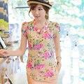 O verão 2017 vestido estilo bolha de manga curta Chiffon Floral colarinho da camisa blusa selo vestdio frete grátis