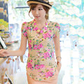 The 2017 summer style dress bubble short sleeved Floral Chiffon shirt collar stamp blouse vestdio free shipping