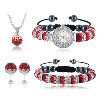 New Arrival Gradient Clay Shamballa Set With Crystal Disco Ball Bead Necklace Bracelet Watch Earrings Mix