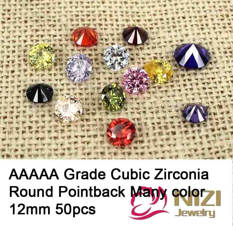12mm 50pcs Cubic Zirconia Beads For Jewelry Decoration Round AAAAA Grade Glue On Stones Pointback Rhinestones DIY Craft Supplies
