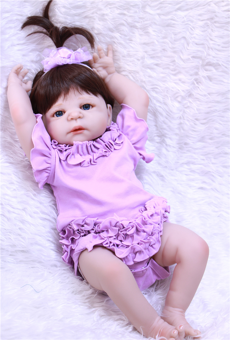 Bebe princess reborn 22 55cm full body silicone reborn baby girl dolls with clothing pacifier bottle