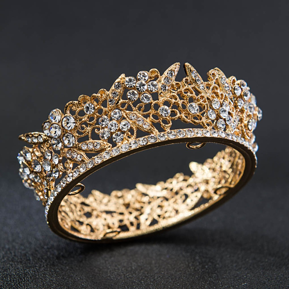 Real Austrian Crystal Round Flower Gold Tiara Crown for Little Flower Girl Wedding Bridal Jewelry Hair Accessories JHA3205B заколки hello little girl hair accessories