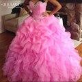 Juliana Sexy Barato Alta Qualidade Rosa Ball Vestido Vestidos Quinceanera 2017 com frisada sweet 16 dresses vestido de 15 años QA959
