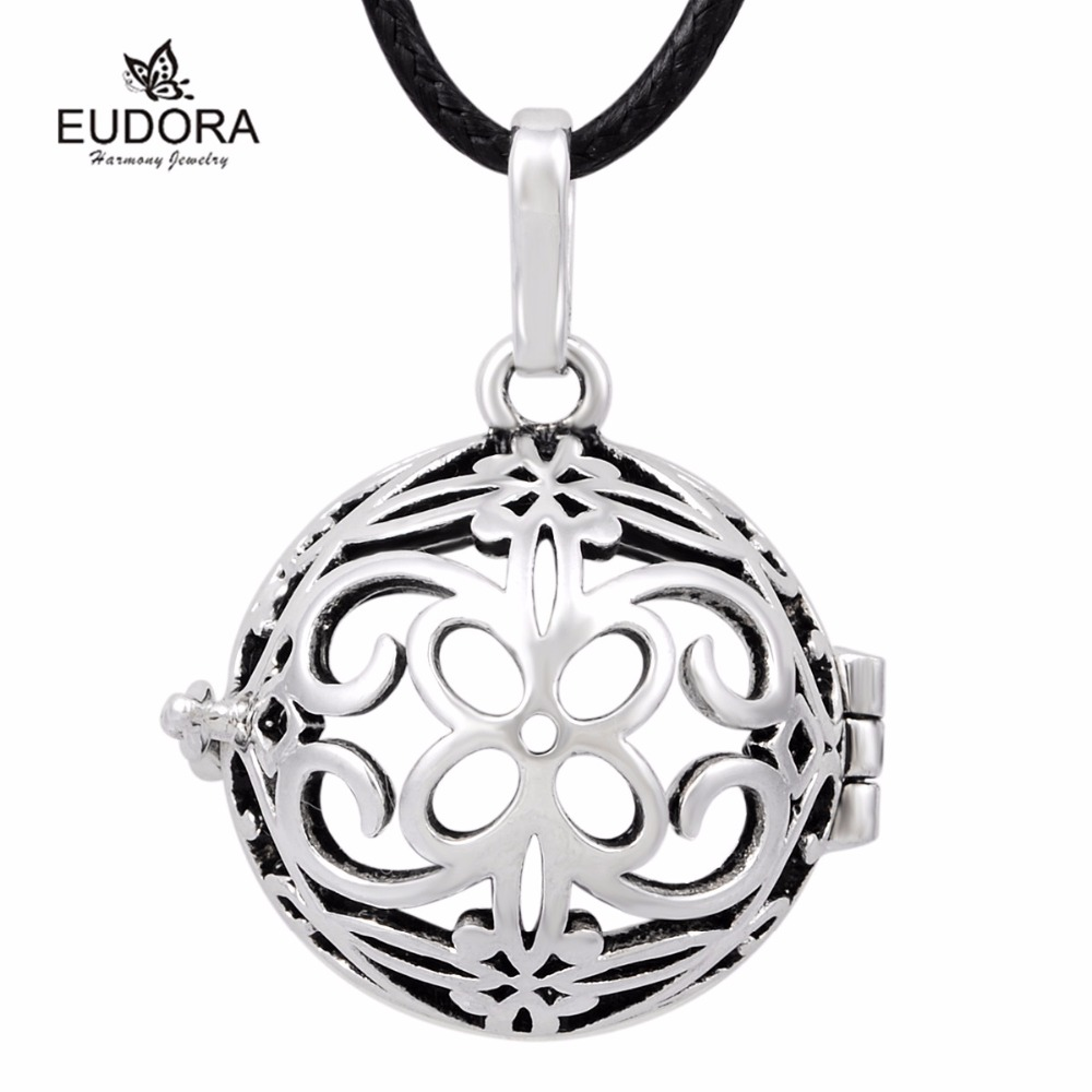 Vintage Silver Plated Flower Harmony Locket Bola Pendant Pregnancy Chime Baby Caller Mexican Bola Ball BH173-18mm