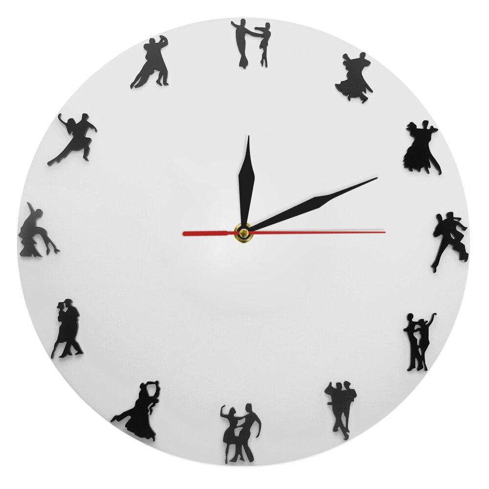 Ballroom Dancers Minimalist Design Wall Clock Latin Couple Dancers Wall Decor Dancing Studio Social Dancing Modern Wall Clock